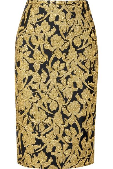 Michael Kors Collection - Metallic Jacquard Skirt - Gold