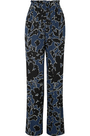 Floral-print silk-georgette wide-leg pants