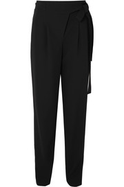 Tie-waist pleated wool serge tapered pants