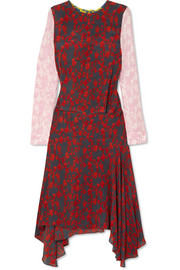 Eimear paneled printed crepe midi dress