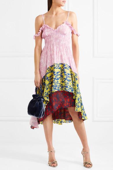 Preen Line Lilah schulterfreies Kleid aus Crêpe de Chine