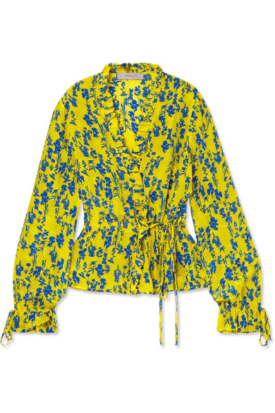 Preen Line - Taia Ruffled Floral-print Crepe De Chine Wrap Blouse - Yellow