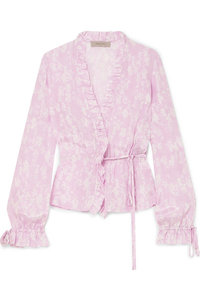 Preen Line - Taia Ruffled Floral-print Crepe De Chine Wrap Blouse - Pastel pink