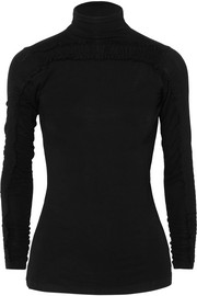Zahara ruched stretch-jersey turtleneck top