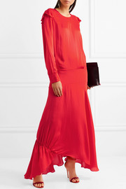 Mia ruffled crepe de chine maxi dress