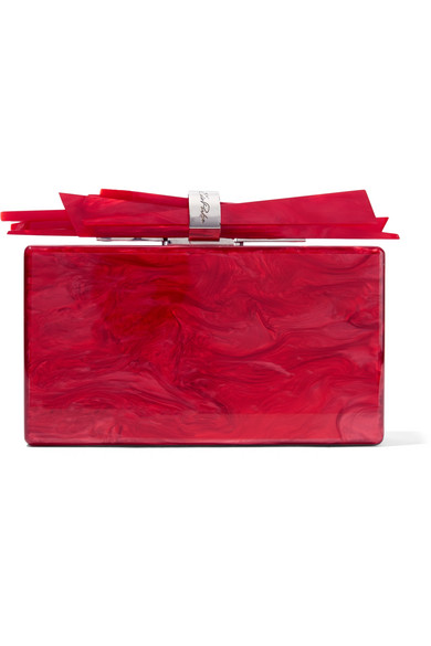 Edie Parker Wolf Box-clutch From Acrylic In Marble Optics