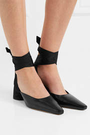 Satin twill-trimmed leather pumps
