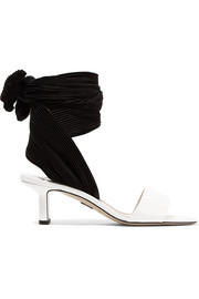 Kogan glossed-leather and plissé-satin sandals