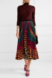 Mary Katrantzou Satin-trimmed pleated printed chiffon skirt