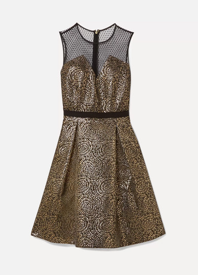 Draper James - Kara Pleated Metallic Jacquard And Swiss-dot Tulle Dress - Black