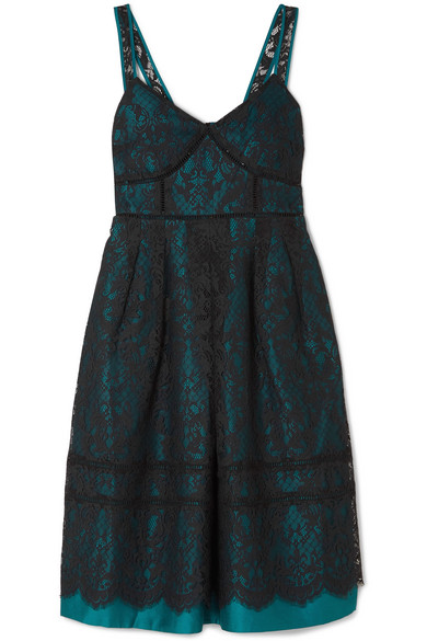 Draper James - Betty Corded Lace And Duchesse-satin Midi Dress - Teal