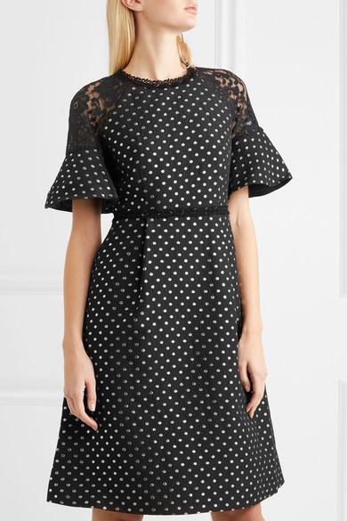 Draper James Shadow Kleid aus Jacquard mit Polka-Dots und Spitzeneinsätzen