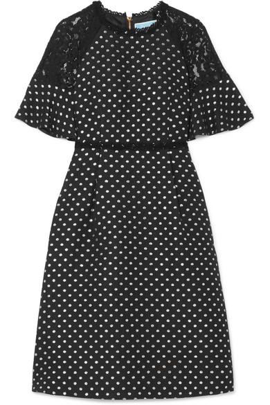 Draper James - Shadow Lace-paneled Polka-dot Jacquard Dress - Black