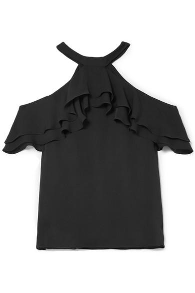 Draper James - Cold-shoulder Ruffled Silk Blouse - Black