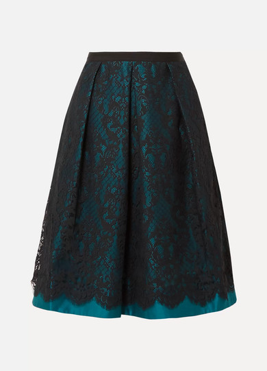 Draper James - Betty Duchesse-satin And Lace Midi Skirt - Teal