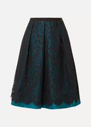 Betty duchesse-satin and lace midi skirt
