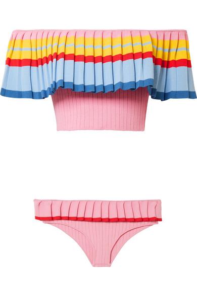Tabula Rasa Toque schulterfreier Bikini aus geripptem Stretch-Strick Steckdose Countdown-Paket Beliebt Günstig Online Verkauf Der Neuen Ankunft YwFKy