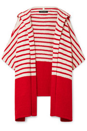 Jahan striped cotton-blend terry hooded wrap