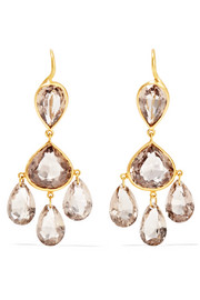 Gabrielle d'Estrées 22-karat gold quartz earrings