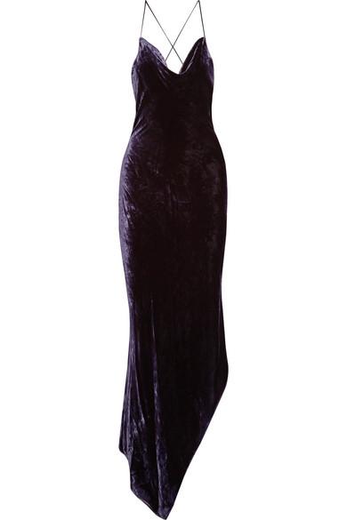 Juan Carlos Obando - Asymmetric Velvet Midi Dress - Dark purple