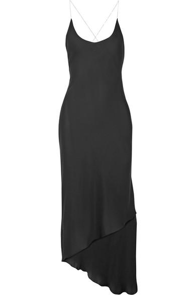 Juan Carlos Obando - Cadena Asymmetric Crepe De Chine Midi Dress - Black