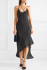 Cadena asymmetric crepe de chine midi dress