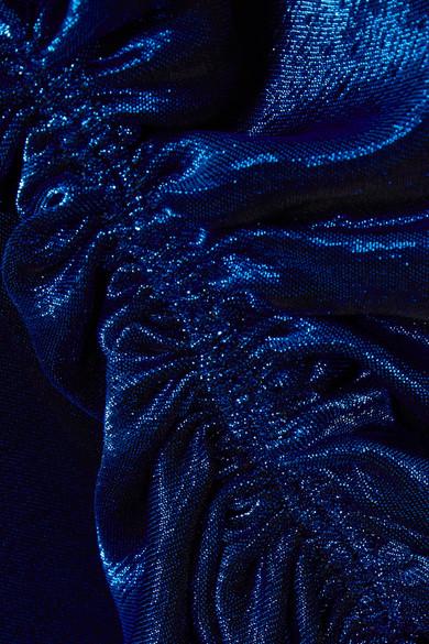 Juan Carlos Obando Asymmetrisches Maxikleid aus einer Stretch-Seidenmischung mit Metallic-Effekt