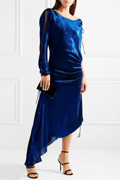 Juan Carlos Obando Asymmetric Maxi Dress In A Stretch Silk Mix With Metallic Effect