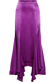 Vermont asymmetric pleated silk-charmeuse midi skirt