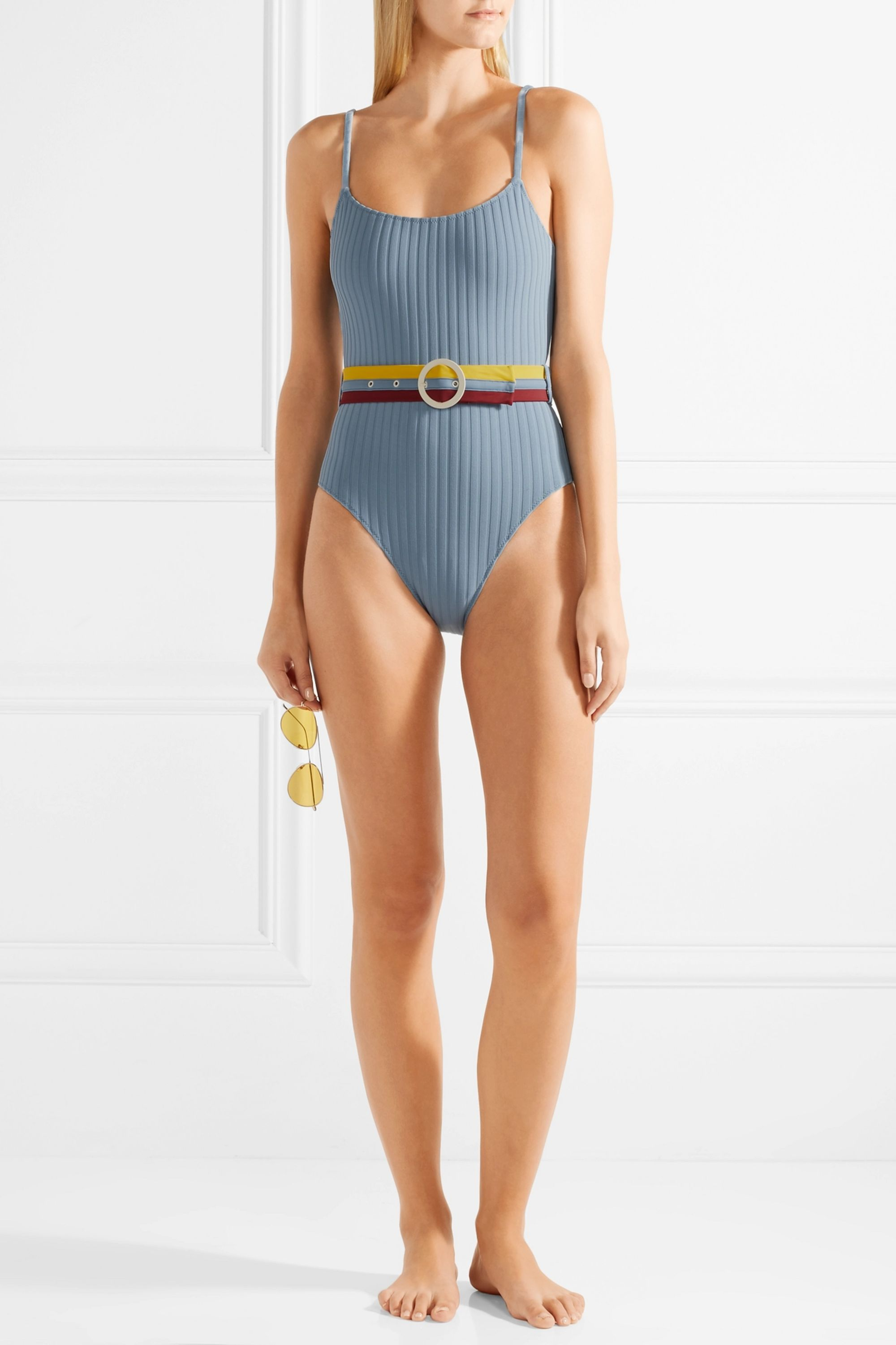 Solid & Striped The Nina belted ribbed stretch-knit swimsuit