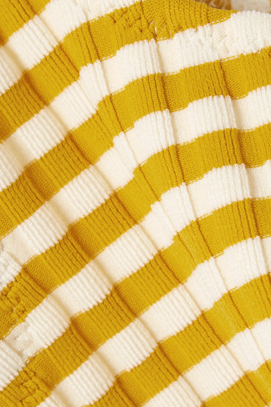 Solid & Striped The Elle Bikini-Oberteil aus geripptem Stretch-Strick mit Streifen