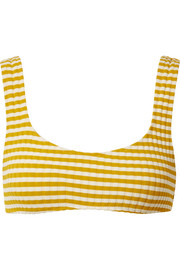 Solid and Striped The Elle striped ribbed stretch-knit bikini top