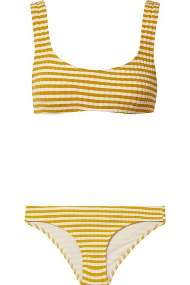 Solid & Striped The Elle geripptes Bikini-Höschen aus Stretch-Strick mit Streifen
