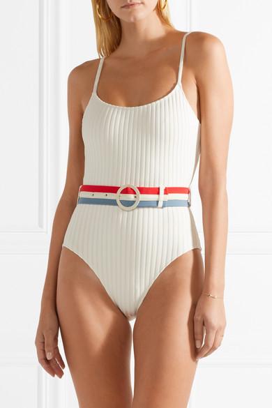 Solid & Striped The Nina Badeanzug aus geripptem Stretch-Strick mit Gürtel