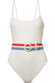 Solid and Striped The Nina belted ribbed stretch-knit swimsuit