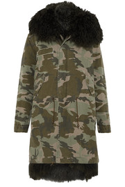 Hooded shearling-lined printed cotton-canvas parka