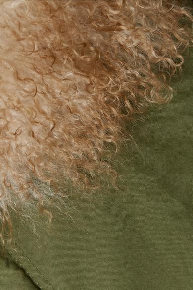 MR & MRS ITALY Parka aus Baumwoll-Canvas mit Kapuze und Shearling-Besatz