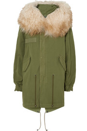 Hooded shearling-trimmed cotton-canvas parka
