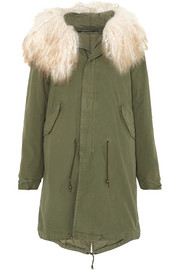 MR & MRS ITALY Hooded shearling-trimmed cotton-canvas parka