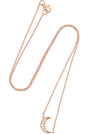 Mini Crescent 18-karat rose gold diamond necklace
