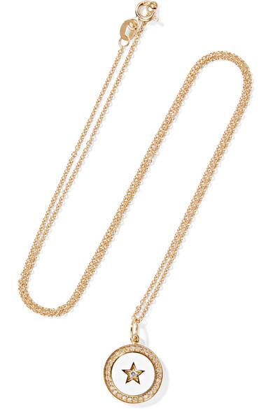 Full Moon 18-karat Gold, Diamond And Enamel Necklace - one size Andrea Fohrman