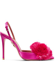 Aquazzura Powder Puff pompom-embellished satin pumps