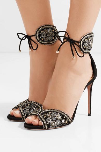Aquazzura Jaipur verzierte Sandalen aus Veloursleder
