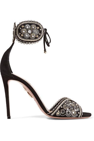 Jaipur Embellished Suede Sandals - Black Aquazzura zFp0vX