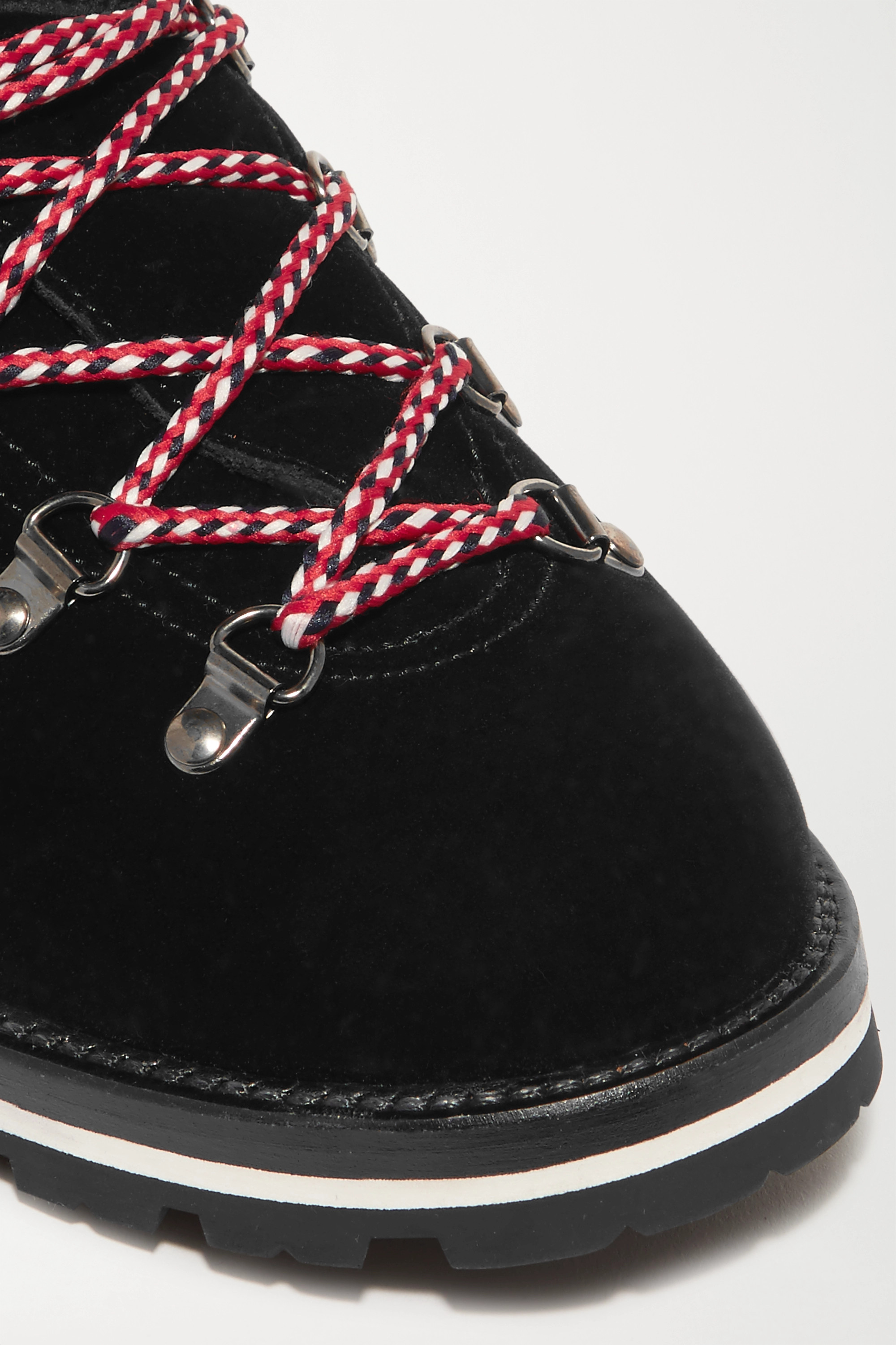 Moncler Blanche shearling-lined velvet ankle boots
