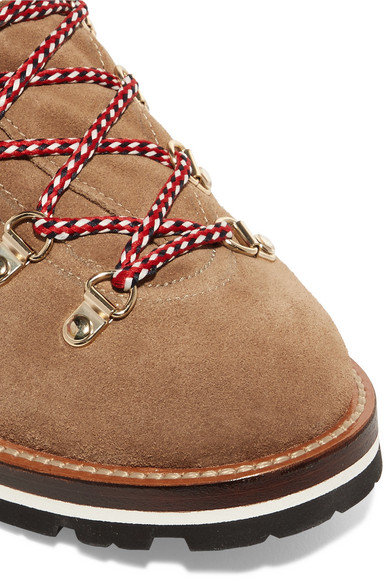 Moncler Blanche Ankle Boots aus Veloursleder mit Glitter-Finish und Shearling-Futter