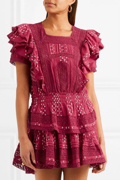 LoveShackFancy Stella Minikleid aus Baumwolle mit Spitzenbesätzen und Rüschen