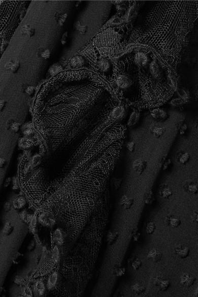 LoveShackFancy Nat Minikleid aus einer Seiden-Baumwollmischung mit Fil Coupé und Spitzenbesatz