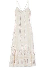 Marlow crocheted lace-trimmed printed cotton midi dress