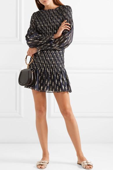 LoveShackFancy Scarlett Minikleid aus Georgette aus einer Seidenmischung mit Metallic-Fil Coupé